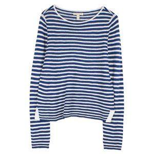 EILEEN FISHER navy blue & white striped sweater